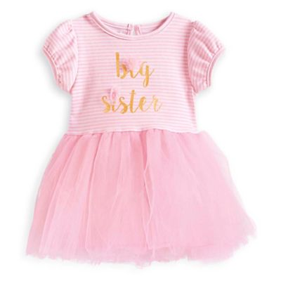 "Mud Pie® Size 24M/2T ""Big Sister"" Short Sleeve Tutu Dress in Pink/Gold"