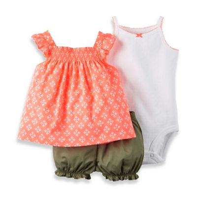 carter's® Size 12M 3-Piece Pointelle Bodysuit, Smock Top, and Diaper Cover Set in Peach/Olive