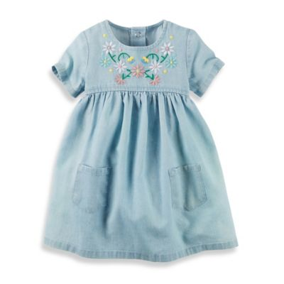 carter's® Size 6M Floral Embroidered Chambray Dress in Blue