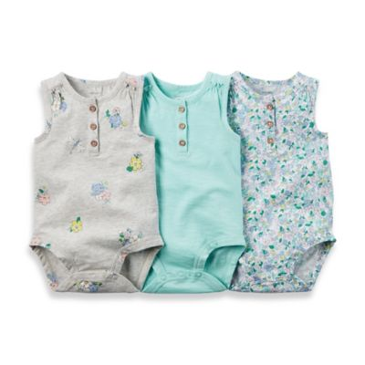 carter's® Size 3M 3-Pack Floral Print Sleeveless Bodysuits