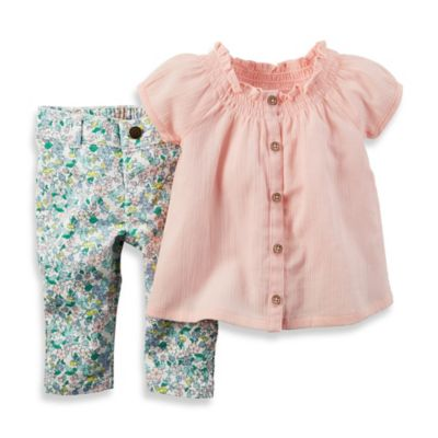 carter's Newborn 2-Piece Smocked Cap Sleeve Top and Floral Jean Set in Pink/Green