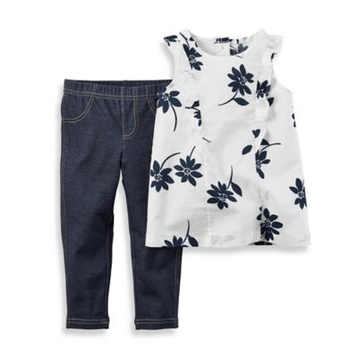 carter's® Size 18M 2-Piece Flutter Sleeve Floral Top and Jegging Set in Black/White