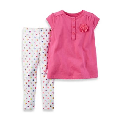 carter's® Size 18M 2-Piece Cap Sleeve Rosette Top and Heart Legging Set in Pink/White