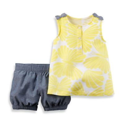 carter's® Size 9M 2-Piece Sleeveless Butterfly Bow Top and Short Set in Chambray/Yellow