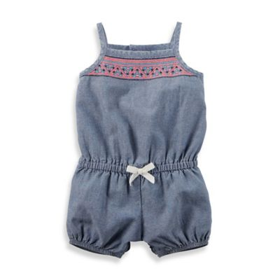 carter's® Size 24M Sleeveless Embroidered Romper in Chambray/Coral