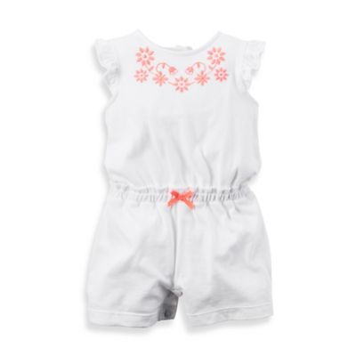carter's® Size 3M Flutter Sleeve Embroidered Romper in White/Coral