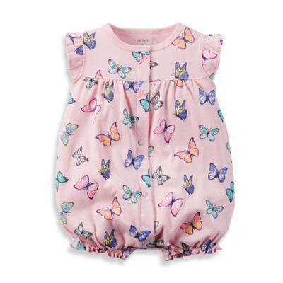 carter's® Size 12M Butterfly Flutter Sleeve Romper in Pink