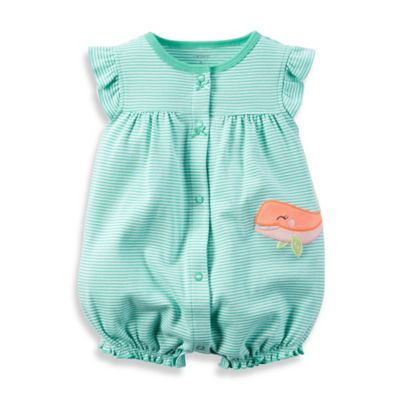 carter's® Newborn Whale with Stripes Flutter Sleeve Romper in Green/White