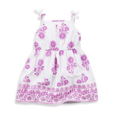 carter's® Size 18M 2-Piece Floral Tie-Strap Sundress and Diaper Cover Set in White/Purple