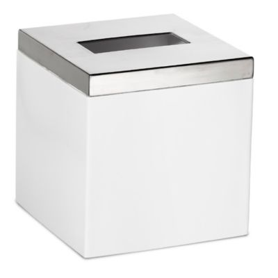 Roselli Trading Suites Boutique Tissue Box Cover in White/Stainless Steel