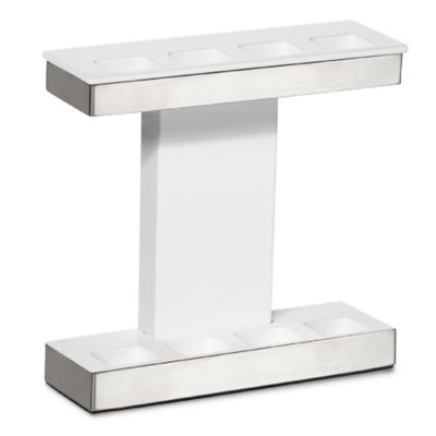 Roselli Trading Suites Toothbrush Holder in White/Stainless Steel