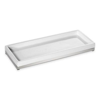 Roselli Trading Suites Amenity Tray in White/Stainless Steel