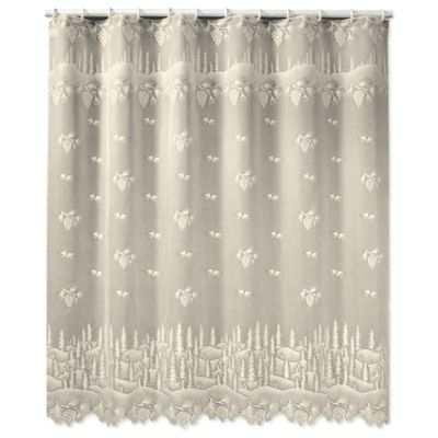 Heritage Lace Pinecone Shower Curtain in White