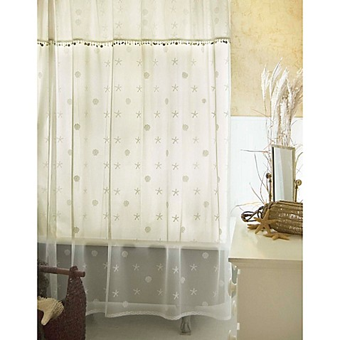 heritage lace sand shell shower window curtain panel and