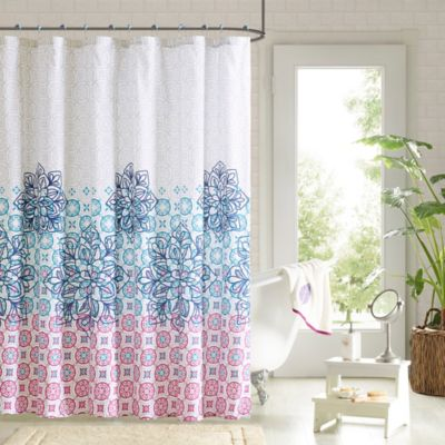 Jessica Shower Curtain and Hook Set in Multicolor