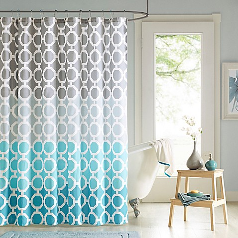 Buy Dani Shower Curtain And Hook Set In Teal From Bed Bath