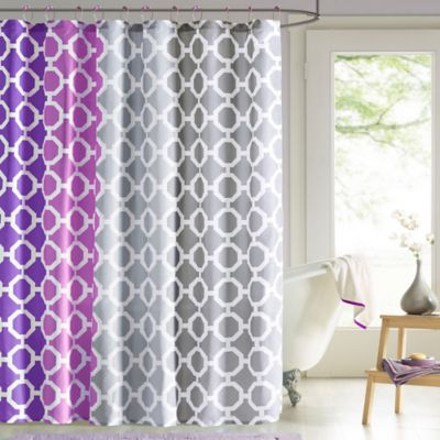 Dani Shower Curtain and Hook Set in Purple