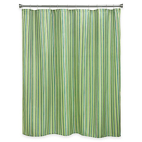 Bacova Sea Stripe Shower Curtain In Green Blue