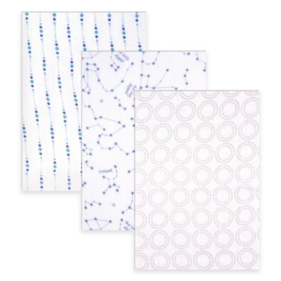 BabyVision® Hudson Baby® 3-Pack Stars Muslin Swaddle Blankets in Blue