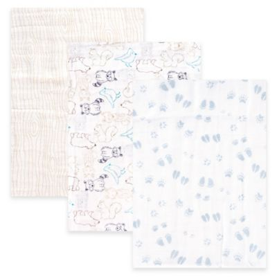 BabyVision® Touched by Nature 3-Pack Woodland Organic Muslin Blankets in Blue