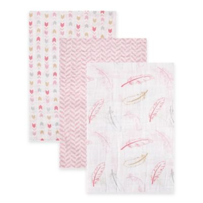 BabyVision® Hudson Baby® 3-Pack Muslin Swaddle Blankets in Pink Feather