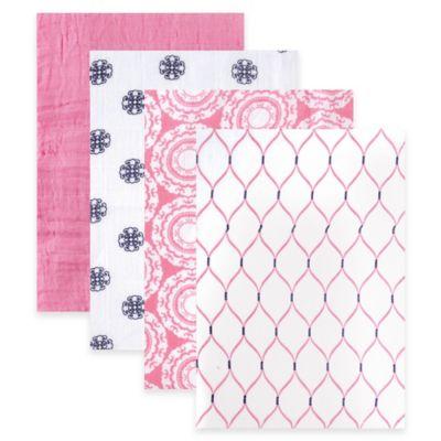 BabyVision® Hudson Baby® 4-Pack Mandalas Muslin Swaddle Blankets in Pink