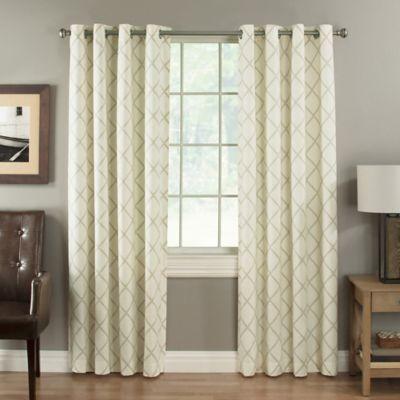 Lattice Berkshire 84-Inch Grommet Top Window Curtain Panel in Dove
