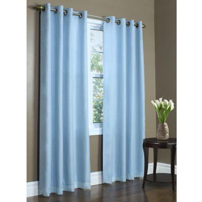 Commonwealth Home Fashions Rhapsody 72-Inch Double Wide Grommet Top Window Curtain Panel in Aqua