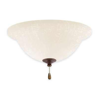 Emerson White Linen Bowl Light Kit for Ceiling Fan in Gilded Bronze