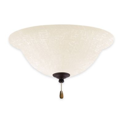 Emerson White Linen Bowl Light Kit for Ceiling Fan in Golden Espresso
