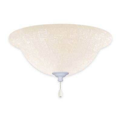 Emerson White Linen Bowl Light Kit for Ceiling Fan in Satin White