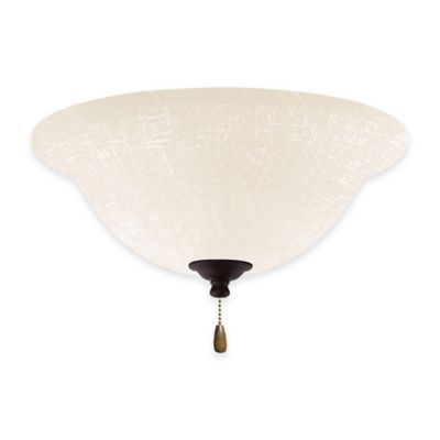 Emerson White Linen Bowl Light Kit for Ceiling Fan in Venetian Bronze