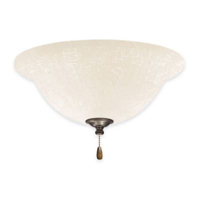 Emerson White Linen Bowl Light Kit for Ceiling Fan in Steel