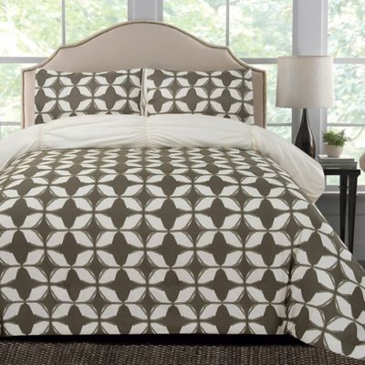 Thro Taylor Microfiber Reversible King Comforter Set in Grey