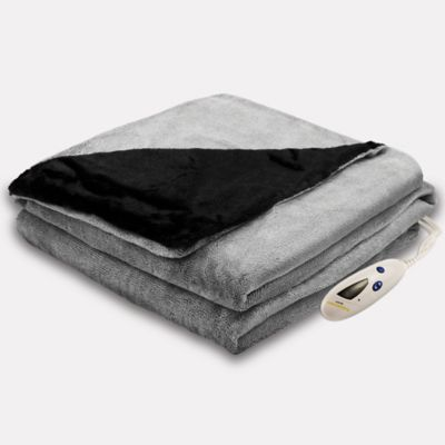 Biddeford® Heated Velour Throw with Faux Fur in Grey