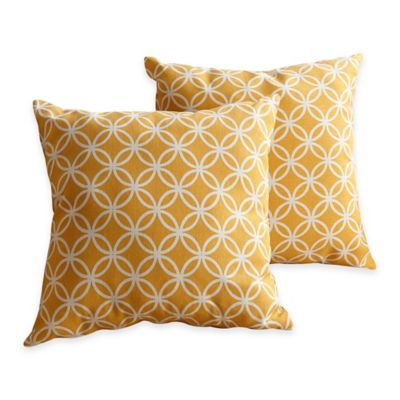 Abbyson Living® Finn Square Throw Pillow in Yellow (Set of 2)