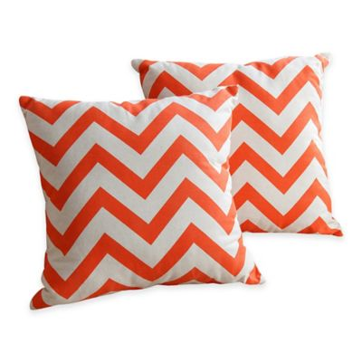 Abbyson Living® 18-Inch Declan Square Pillow in Orange (Set of 2)