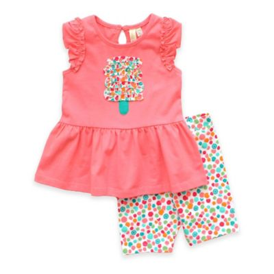 Planet Cotton® Size 6M 2-Piece Popsicle Tunic and Legging Set in Melon Pink/Multicolor