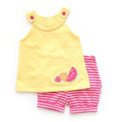 Planet Cotton™ Size 3M 2-Piece Fruit Applique Top with Striped Bloomer Set in Yellow/Pink