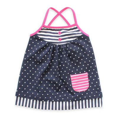 Planet Cotton® Size 6M Dot and Stripe Cross-Back Dress in Navy/Pink