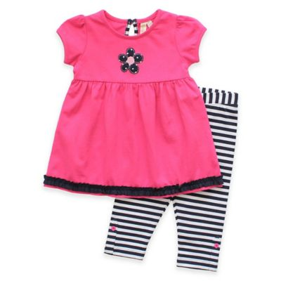 Planet Cotton® Size 3M 2-Piece Short Sleeve Flower Dot Tunic and Legging Set in Pink/Navy