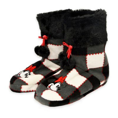 Disney® Size Small Minnie Mouse Plaid Pom Pom Slipper Boot