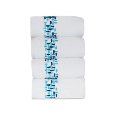 Ivone Embroidered Hand Towels in Blue Coral (Set of 4)