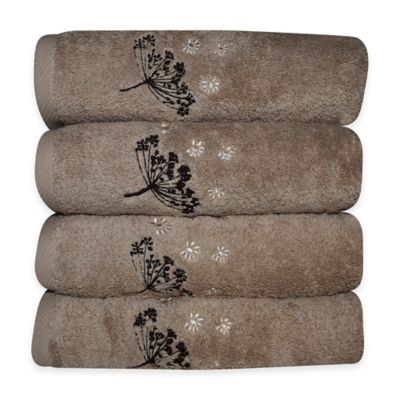 Camilla Embroidered Hand Towels in Brown (Set of 4)