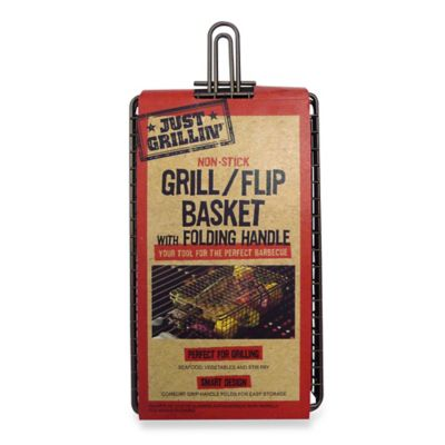 Just Grillin' Nonstick Grill/Flip Basket with Folding Handle