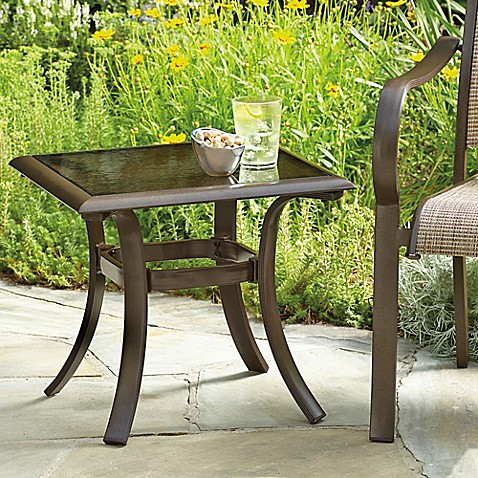 20 Inch Square Aluminum And Glass Patio Accent Table In