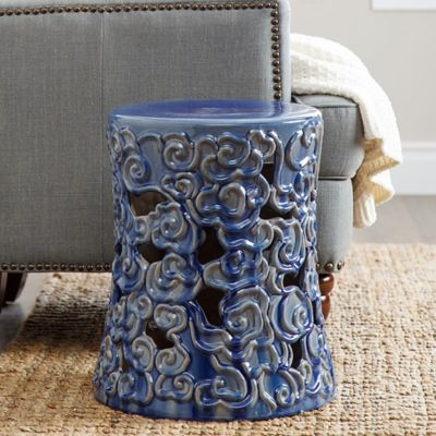 Abbyson Living® Teagan 18-Inch Ceramic Garden Stool in Blue