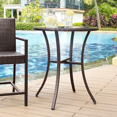Crosley Palm Harbor Outdoor Wicker Bistro Table in Brown
