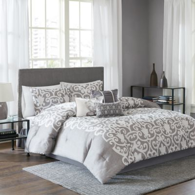 Lotus 7-Piece Queen Comforter Set in Grey/White