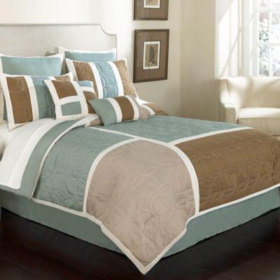 Kiley 8-Piece Full Comforter Set in Blue/Beige